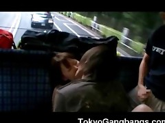 Asian Jizzed On In A Bus!