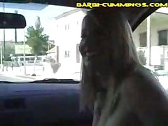 Big Tit Blonde Plays In Moving Car