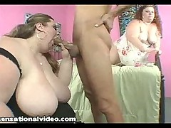 2 Big Tit BBWS Struggle to Deep Throat Ramons Huge Cock