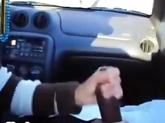 Wife Jerks Hubbys Big Black Cock In Their Car