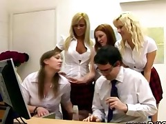Office Girls Strip The Office Geek And Wank Him In Cfnm..