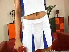 Hot Blonde In Cheerleader Outfit