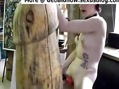 Emo Slut Fucks Giant Dildo