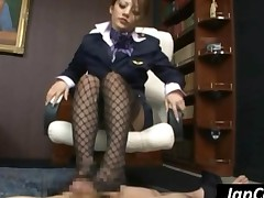 Asian Hottie In Nylons Gives Footjob