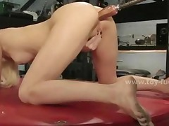 Blonde Babe Fingers Then Masturbates With Dildo And Mechanic..