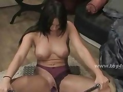 Brunette Busty Bitch Using Fucking Machines To Pleasure..