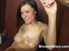 Sexy Brunette Vanessa Deepthroats Big Dick Through Gloryhole