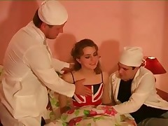 British Sarrah fucked by two dicks