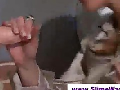Lady Sucks Fake Dick At A Gloryhole