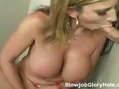 Busty Mature Sara Face Fucks Fat Cock Through Gloryhole