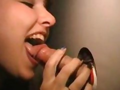 Cute Brunette Swallows Cum From The Gloryhole