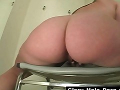 Busty And Booty Babe Suck A Big White Dick Through Gloryhole