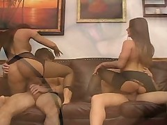 Rachel and friend foursome pantyhose fetish with a footjob