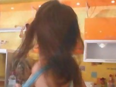 Brunette Girl Toying Pussy In A Kitchen