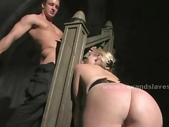 Blonde In Leather With Pussy And Boobs Naked Bound From..