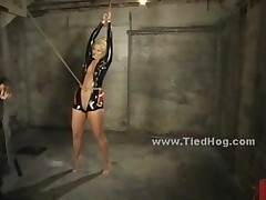 Sexy Blonde Slut Immobilized And Bound In Leather And From..
