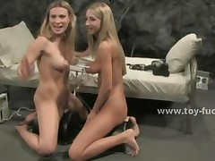 Pair Of Sexy Blonde Lesbians Playing Licking And Using Fucking..