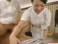 Japanese Nurses Give Blowjob Tit Lick And Deep Kiss