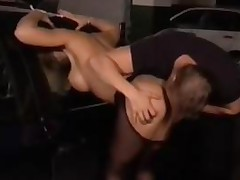 Busty Blonde In Pantyhose And Heels Fucked In Ass