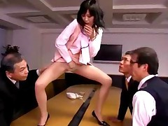 Office Lady In Pantyhose Fingering Herself In Front Of 3..