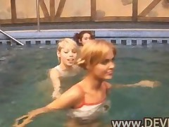 Three Girls Naked In The Pool