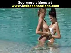 Horny Lesbos Kissing In The Pool