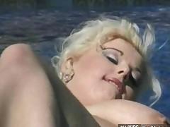 Bbw Blonde Gets Banged Near Pool