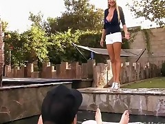 Huge Titted Wife Teasing Her Husband By The Pool