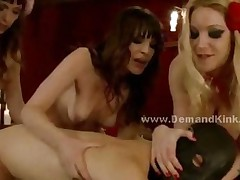 Three Nasty Mistress Punish Man Sex Slave In Rough Female..