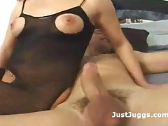 Hot Redhead Slut In Fishnets Takes It Deep In Ass To Mouth