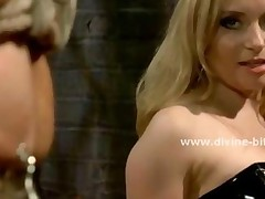 Blonde Divine Bitch In Tight Leather Dress And With Nasty..