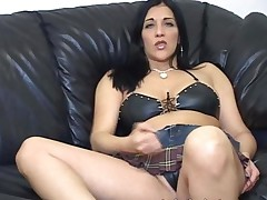 Jerk Off Teacher Demos Masturbation With Her Legs Spread