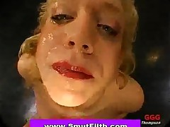 Bukkake Blonde Takes Refreshing Sperm Shower