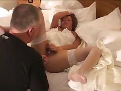 White Bride Fucked by 2 BBC on Wedding Night