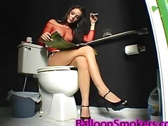 Bonnie Smoking A Cigarette Sitting On Toliet