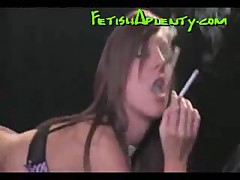 Hot Brunette Fucked Doggy Style While Smoking