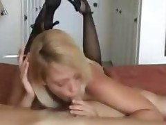 Blonde Gives Blowjob While Smoking