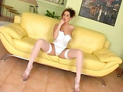 Fishnet Stockings And White Panty Masturbation