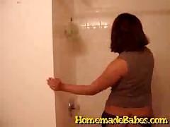 Amateur Latina Teen Strips In The Bathroom Wearing Stockings