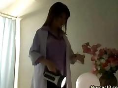 Horny Japanese Nurse In Stockings