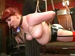Suspended Bound Fat Babe Fucked By Girl With Strapon Toy