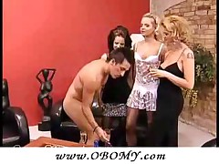 Kinky Guy Doing 3 Babes With Reverse Strap-On!