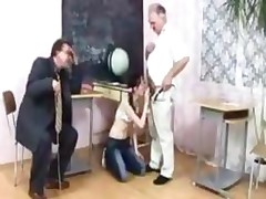 2 Old Teachers Fucks Young Girl In School