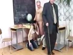 2 Old Teachers Fucks Young Girl In School