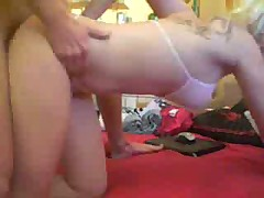 Lovely blonde fucked doggystyle with her panties on