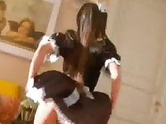 Nasty Teen In French Maid Uniform Puts A Dildo In Her Ass