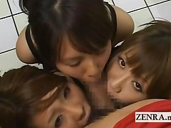 Three Busty Japan Babes In Uniform Give Triple Blowjob