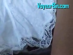 Hot White Skirt And No Panties Makes A Great Upskirt