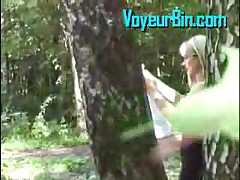Pantyless Upskirt In The Woods