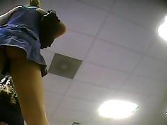 Upskirt Blue Dress No Panties